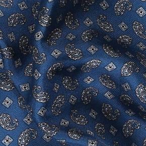 Steel Blue & Silver Italian 100% Silk Pocket Square - thumbnail image 1