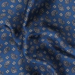 Steel Blue & Silver Italian 100% Silk Pocket Square - thumbnail image 2