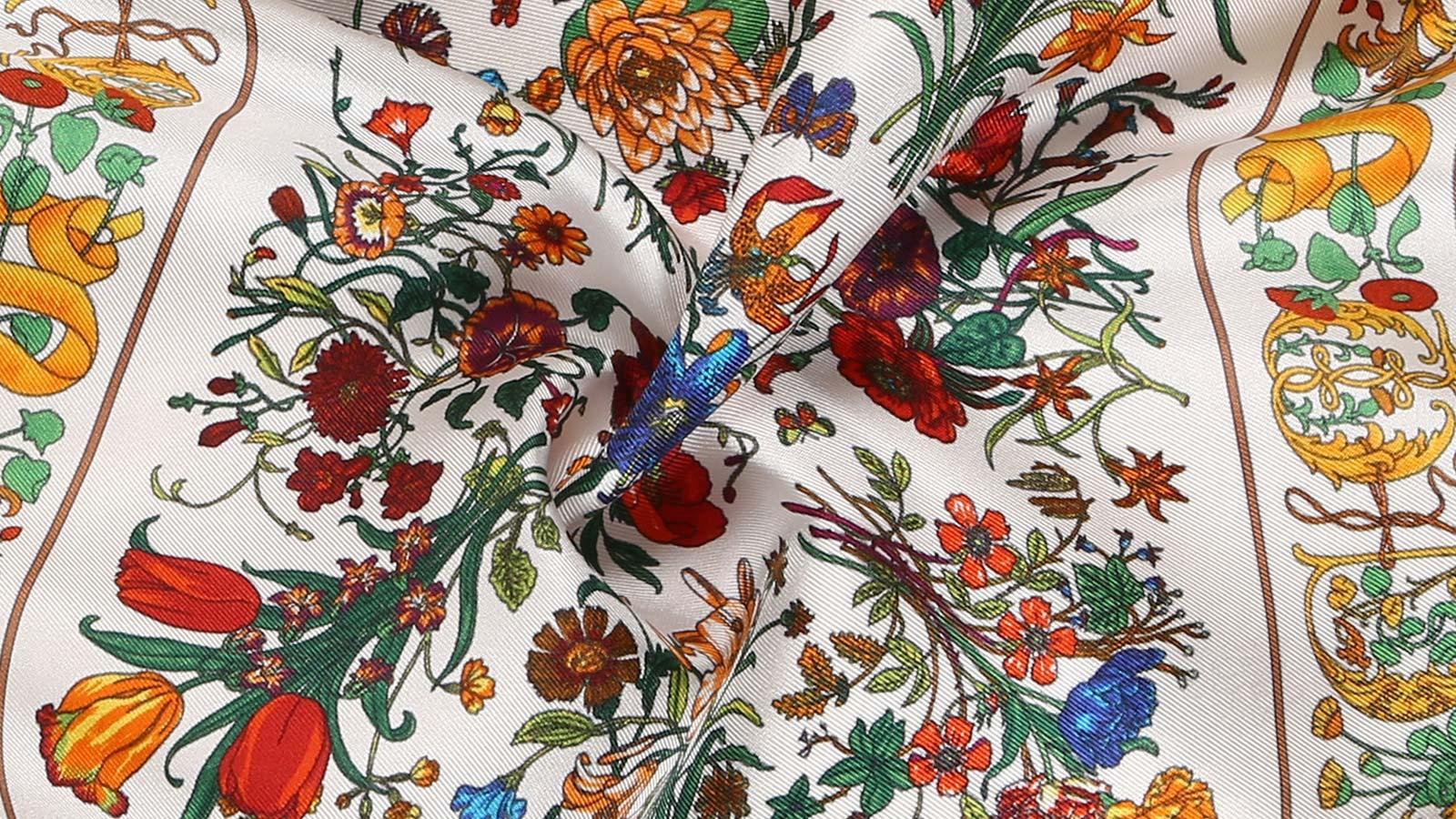 Navy & White Floral Vintage Italian 100% Silk Pocket Square - slider image 1
