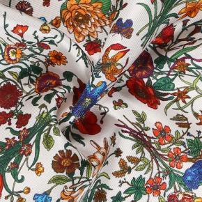Navy & White Floral Vintage Italian 100% Silk Pocket Square - thumbnail image 1
