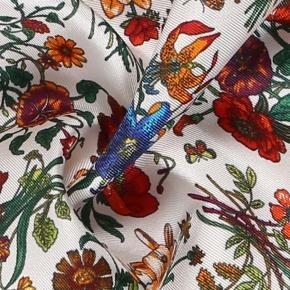 Navy & White Floral Vintage Italian 100% Silk Pocket Square - thumbnail image 2