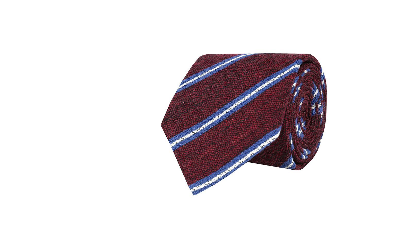 Burgundy & Blue Striped Vintage Silk-Cotton Tie - slider image