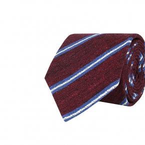 Burgundy & Blue Striped Vintage Silk-Cotton Tie - thumbnail image 1