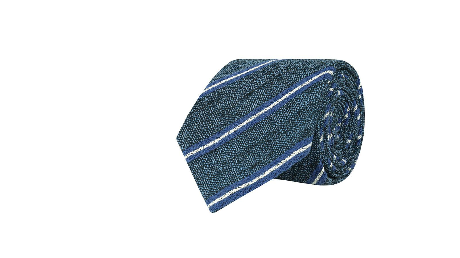 Steel Blue & Blue Striped Vintage Silk-Cotton Tie - slider image