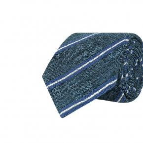 Steel Blue & Blue Striped Vintage Silk-Cotton Tie - thumbnail image 1