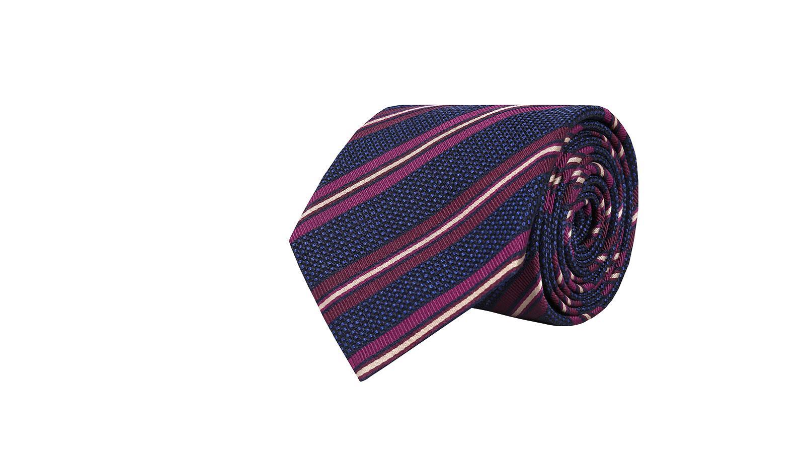 Dark Navy & Purple Striped Silk-Cotton Tie - slider image