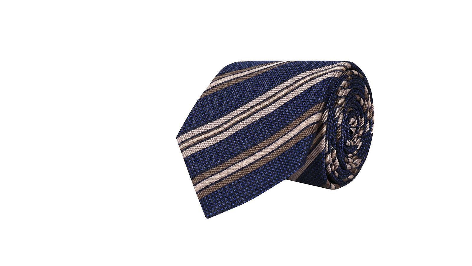Dark Navy & Beige Striped Silk-Cotton Tie - slider image