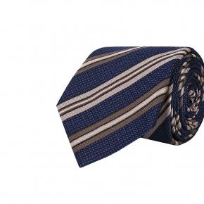 Dark Navy & Beige Striped Silk-Cotton Tie - thumbnail image 1