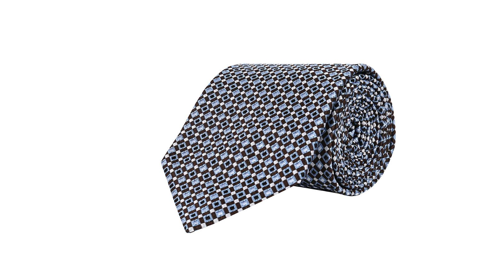Brown & Blue Micropatterned Silk Tie - slider image
