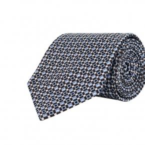 Brown & Blue Micropatterned Silk Tie - thumbnail image 1