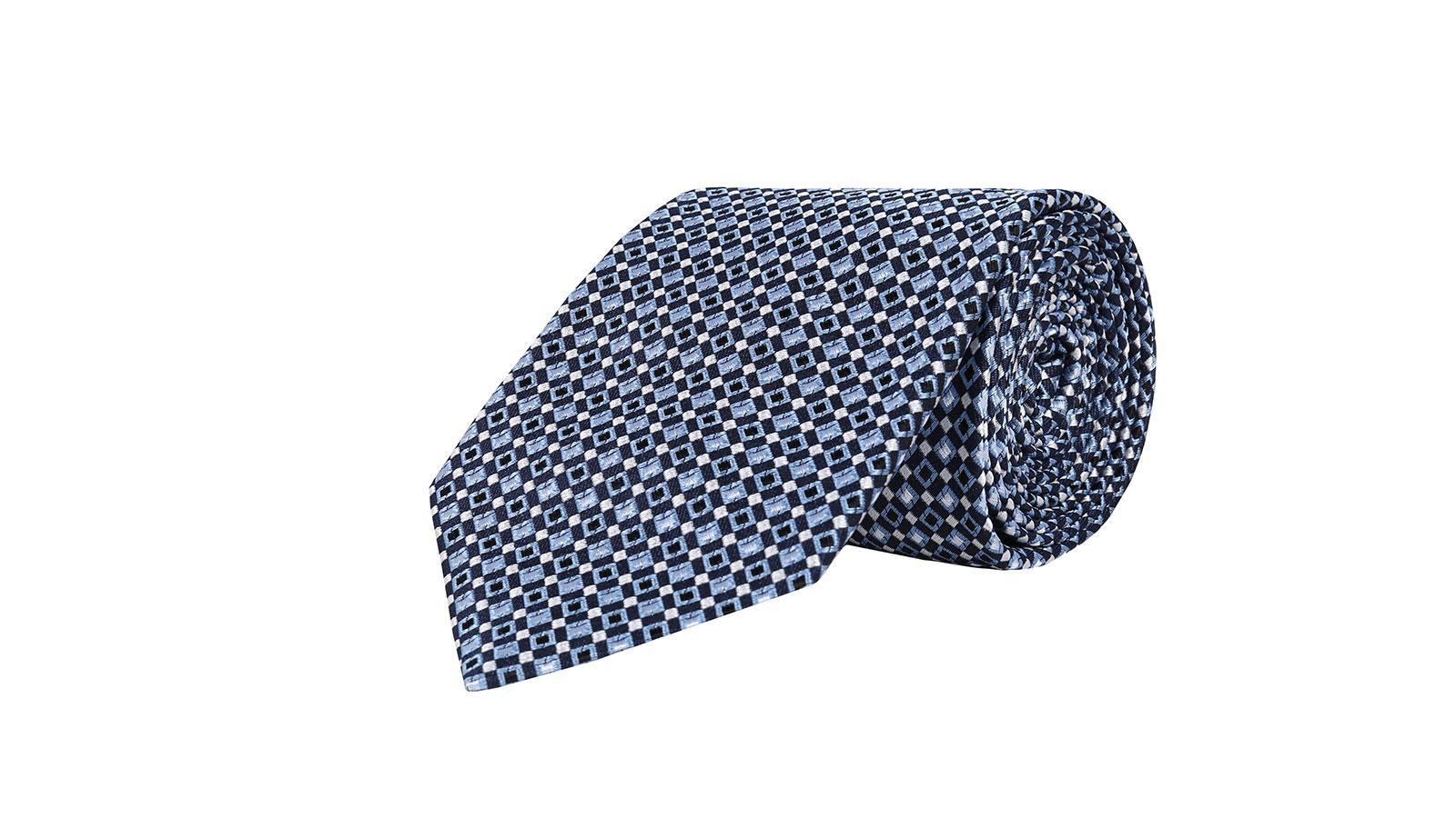 Navy & Blue Micropatterned Silk Tie - slider image
