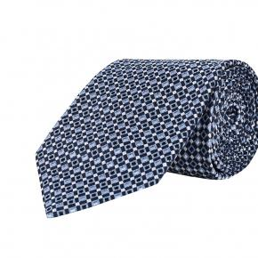 Navy & Blue Micropatterned Silk Tie - thumbnail image 1