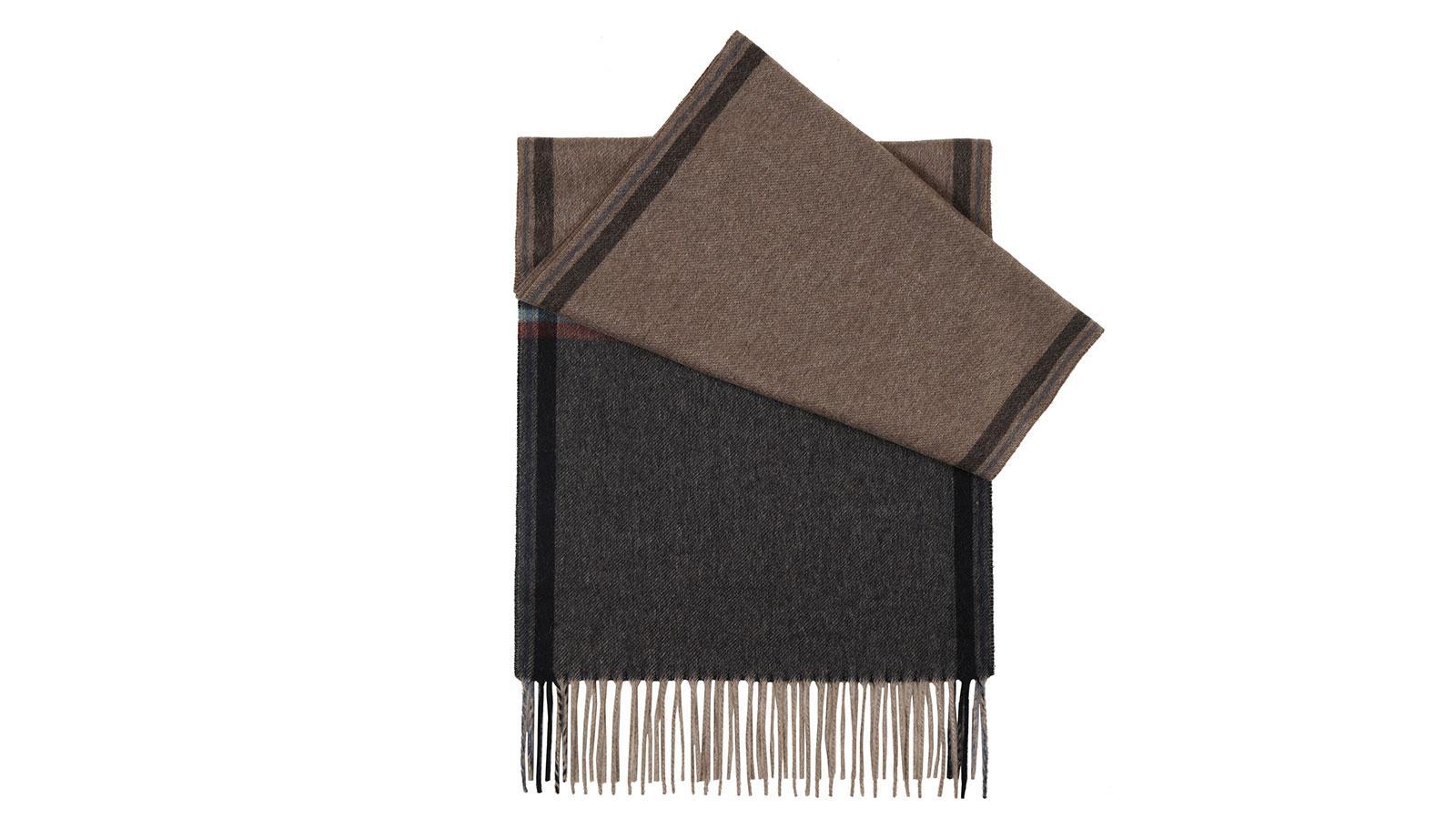 Beige & Charcoal Cashmere Scarf - slider image