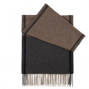 Beige & Charcoal Cashmere Scarf - thumbnail image 1