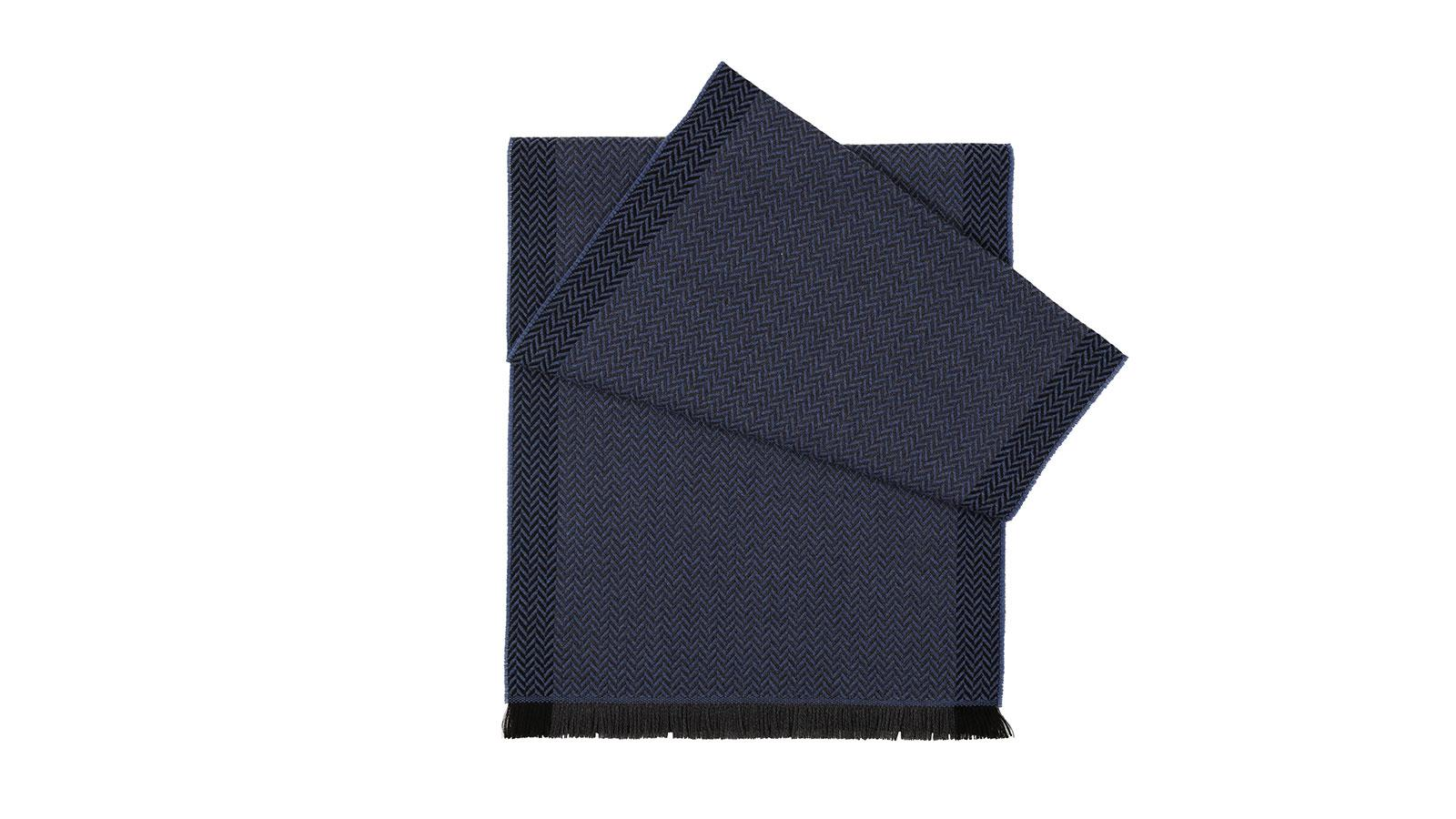 Navy & Blue Herringbone Wool Scarf - slider image