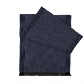 Navy & Blue Herringbone Wool Scarf - thumbnail image 1