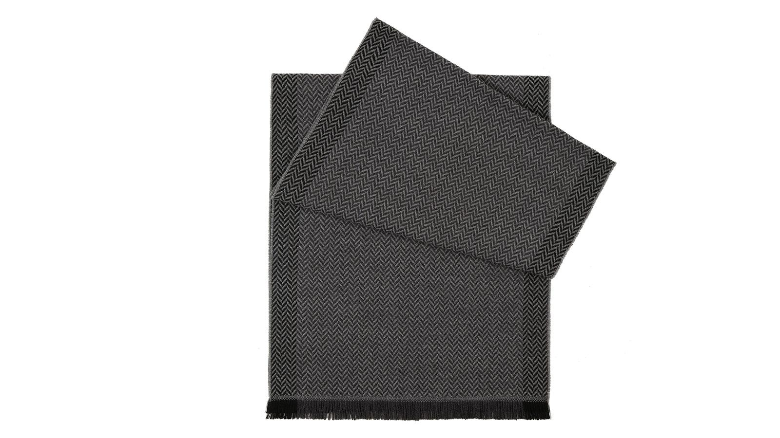 Charcoal & Grey Herringbone Wool Scarf - slider image