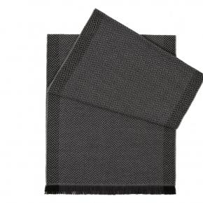 Charcoal & Grey Herringbone Wool Scarf - thumbnail image 1