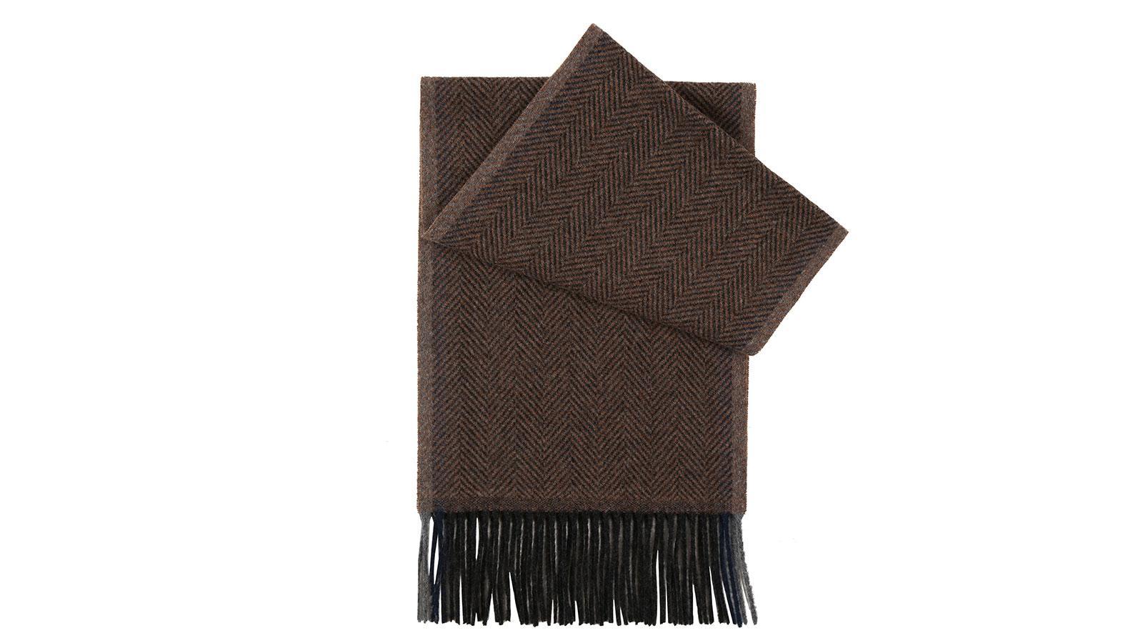 Tobacco Brown Herringbone Wool Scarf - slider image