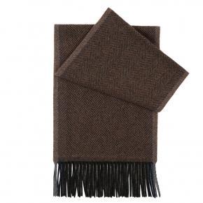 Tobacco Brown Herringbone Wool Scarf - thumbnail image 1