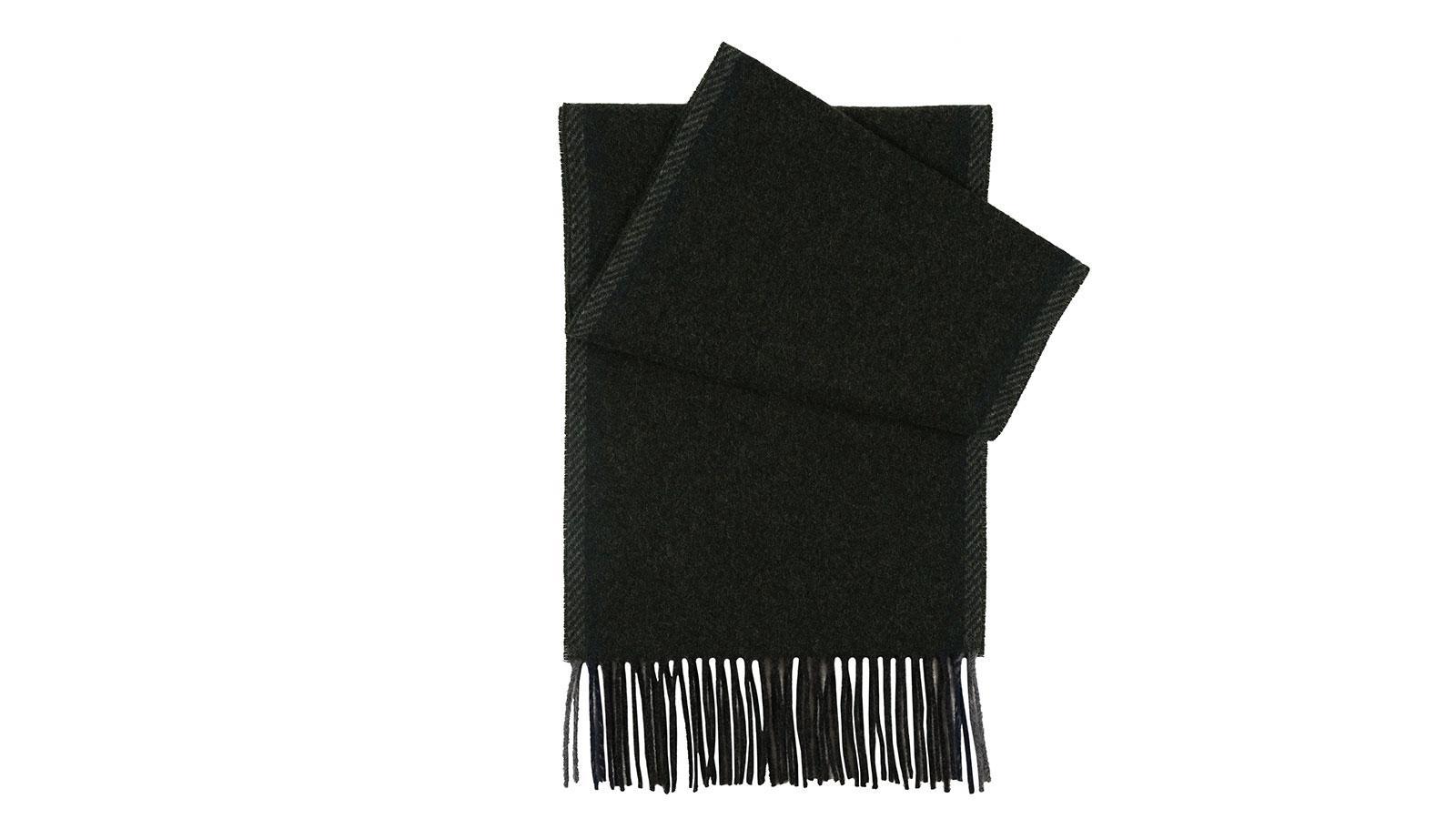 Dark Green Melange Wool Scarf - slider image