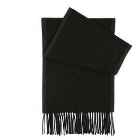 Dark Green Melange Wool Scarf - thumbnail image 1