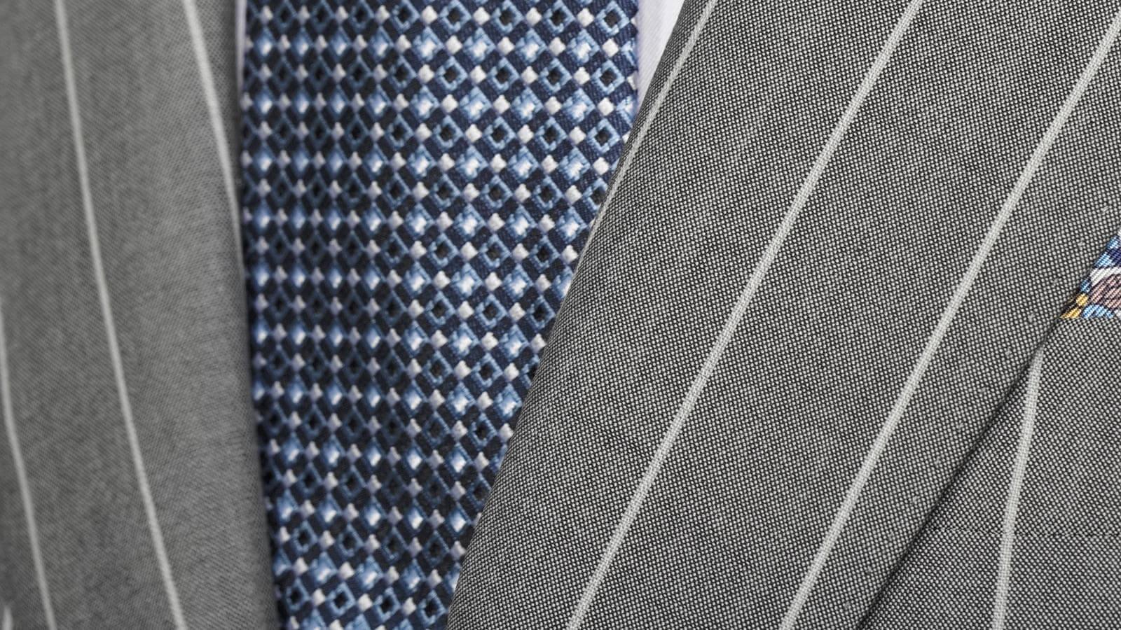 Light Grey Wide Stripe Suit - slider image 1