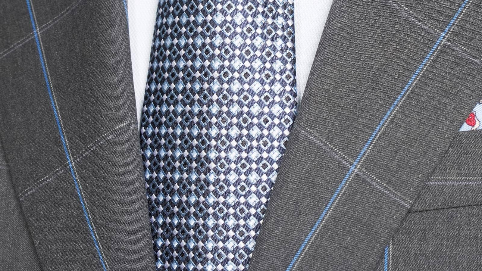 Blue Check Charcoal Suit - slider image 1