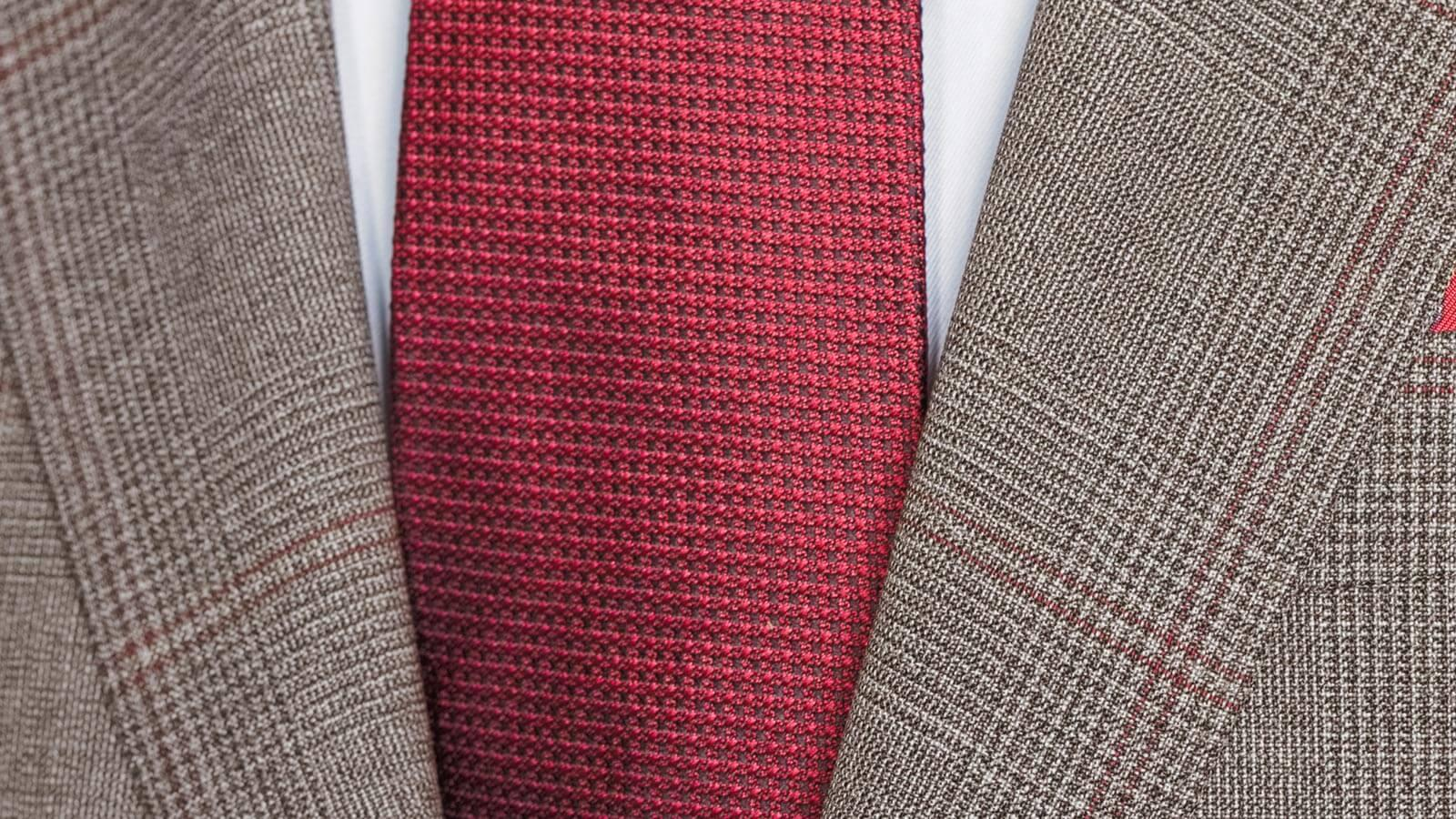 Tropical Rustic Light Brown Plaid with Red Overcheck Suit - slider image 1