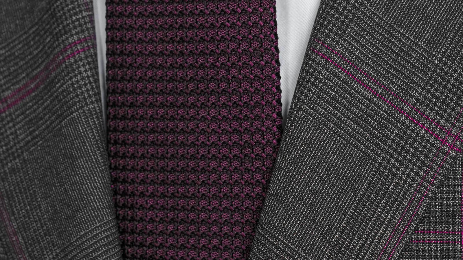 Tropical Rustic Charcoal Plaid with Purple Overcheck Suit - slider image 1