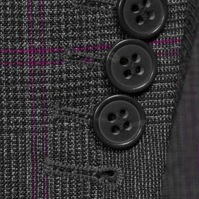 Tropical Rustic Charcoal Plaid with Purple Overcheck Suit - thumbnail image 2