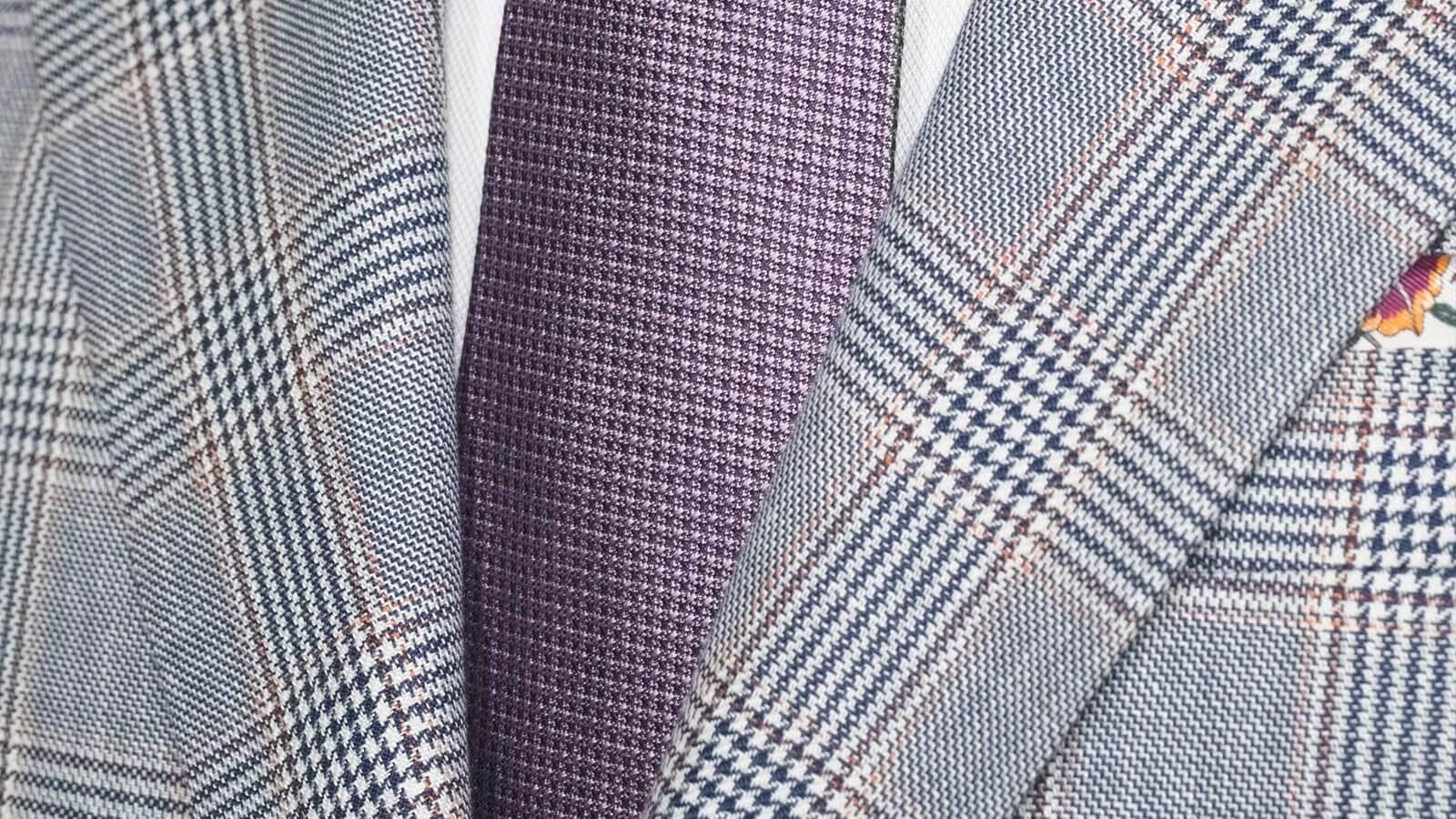 Light Blue Plaid Linen-Cotton Blazer - slider image 1