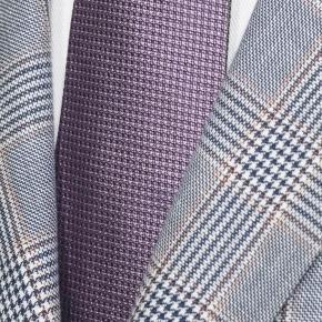 Light Blue Plaid Linen-Cotton Blazer - thumbnail image 1