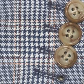 Light Blue Plaid Linen-Cotton Blazer - thumbnail image 2