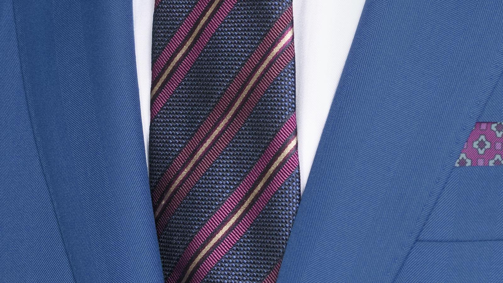Sartorial Intense Blue Herringbone 160s Suit - slider image 1