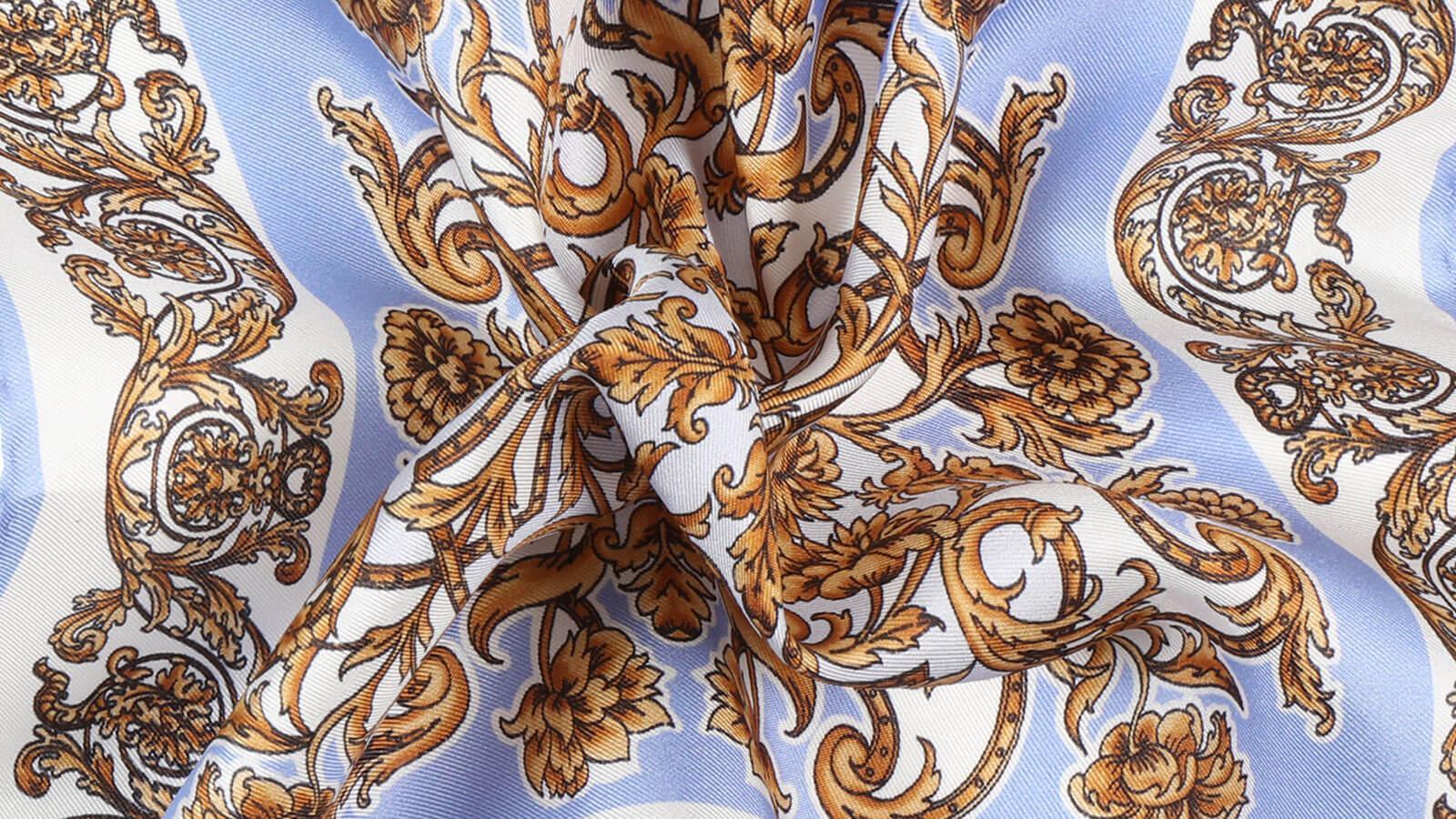 Sky Blue and Gold Patterned Italian 100% Silk Pocket Square - slider image