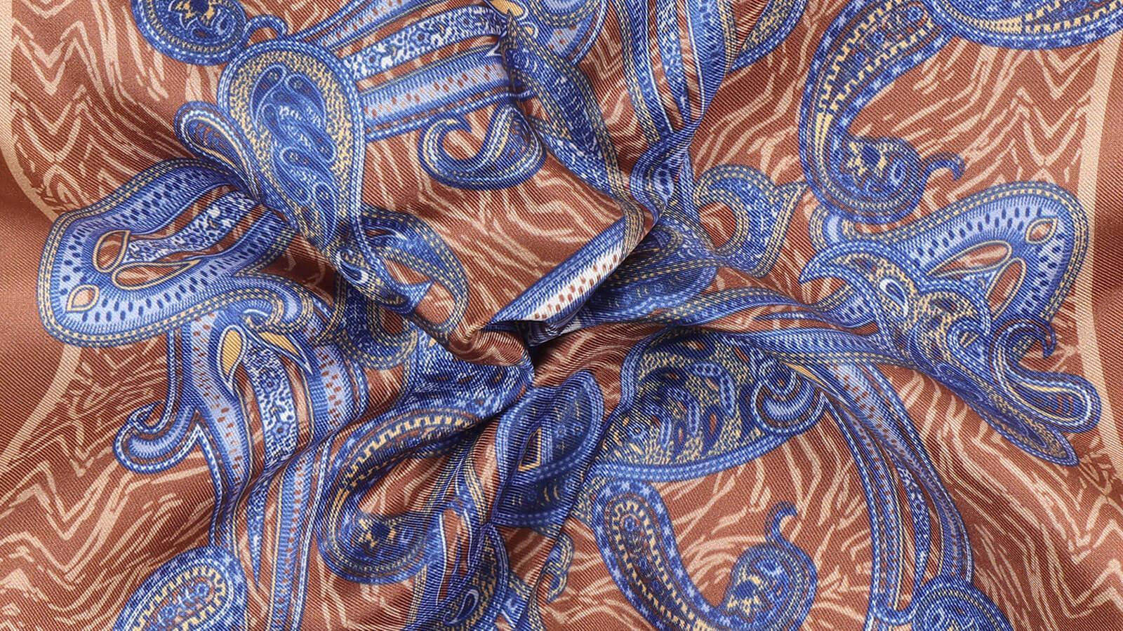 Beige and Navy Paisley Italian 100% Silk Pocket Square - slider image