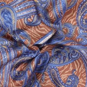 Beige and Navy Paisley Italian 100% Silk Pocket Square - thumbnail image 1