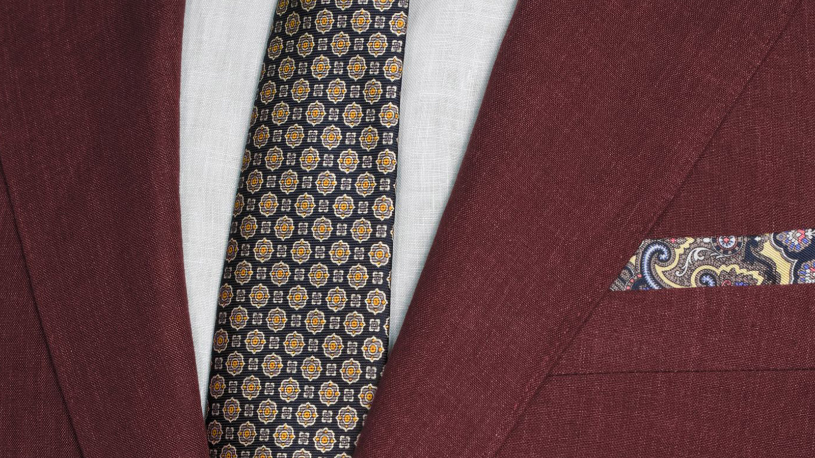 Intense Ruby Red Linen Suit - slider image 1