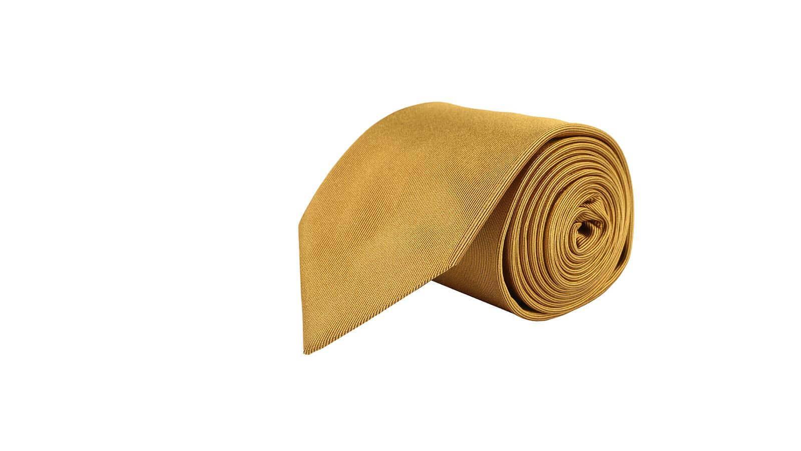 Solid Gold Silk Tie - slider image