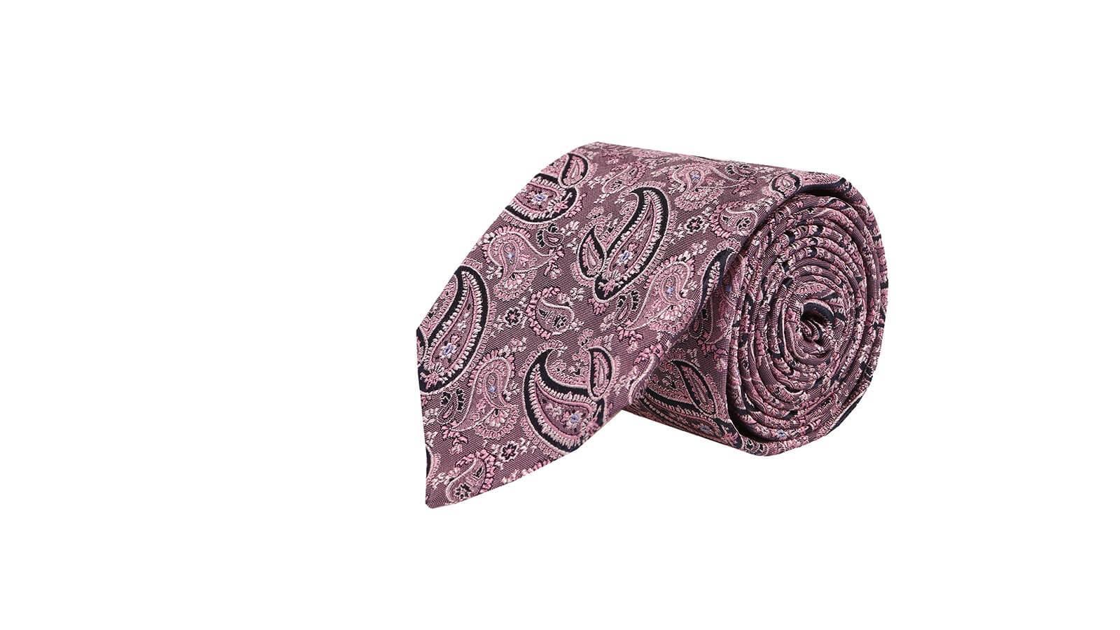 Pink Paisley Silk Tie - slider image
