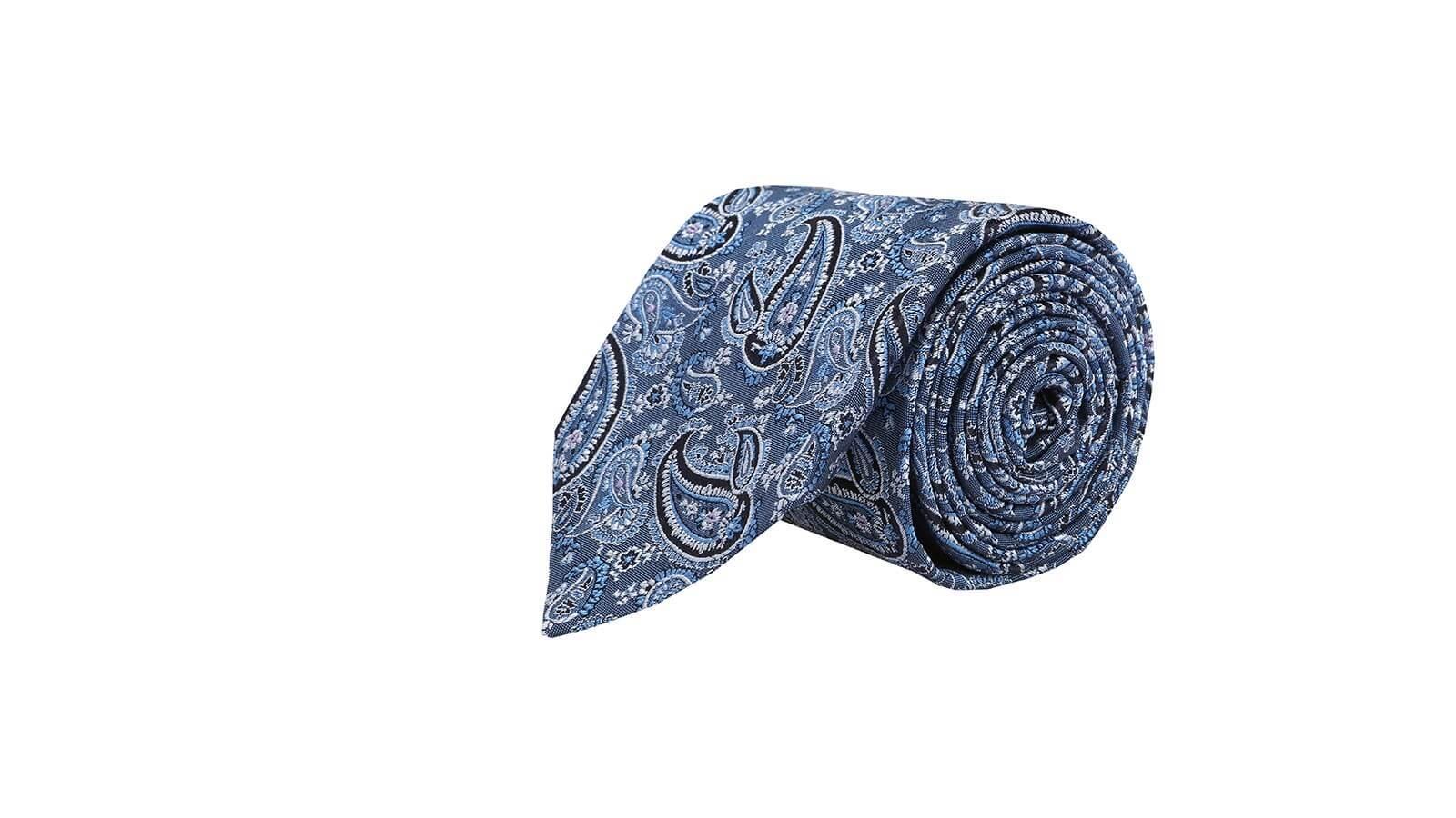 Light Blue Paisley Silk Tie - slider image