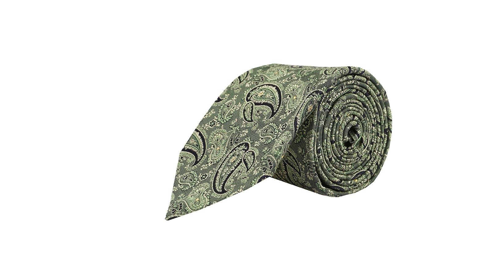 Green Paisley Silk Tie - slider image
