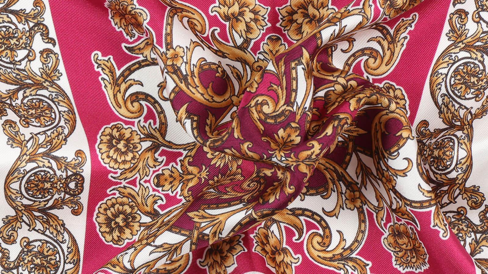 Fuchsia and Gold Patterned Italian 100% Silk Pocket Square - slider image