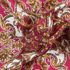Fuchsia and Gold Patterned Italian 100% Silk Pocket Square - thumbnail image 1