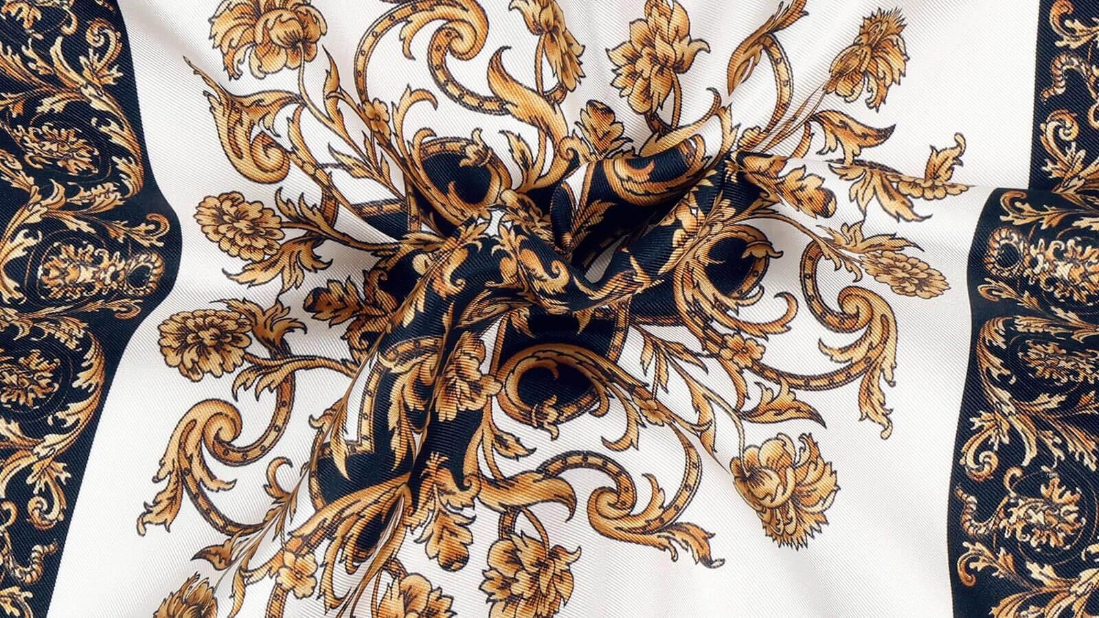 Black and Gold Patterned Italian 100% Silk Pocket Square - slider image