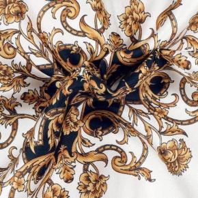 Black and Gold Patterned Italian 100% Silk Pocket Square - thumbnail image 1