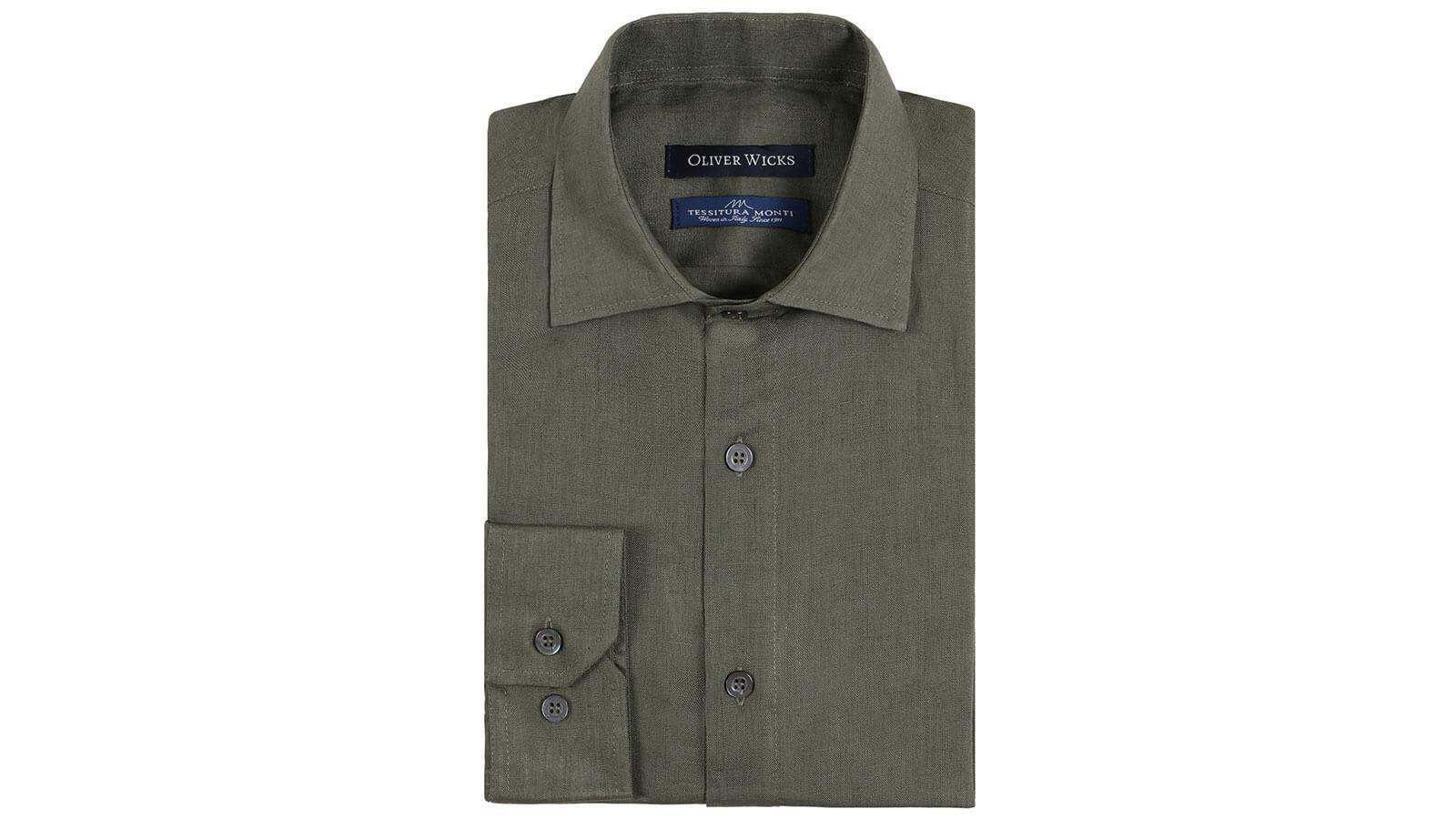 Forest Green Linen Shirt - slider image 1