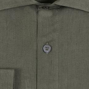 Forest Green Linen Shirt - thumbnail image 2