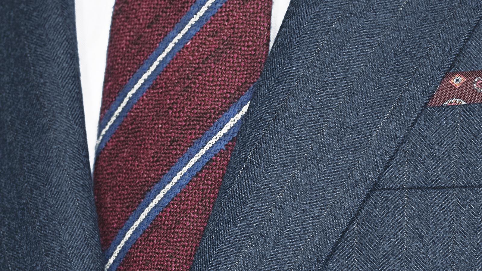 Ecru Pinstripe Blue Suit - slider image 1